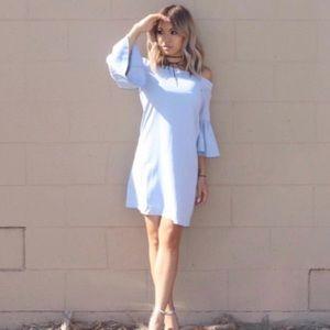 Blue off shoulder bell sleeve dress